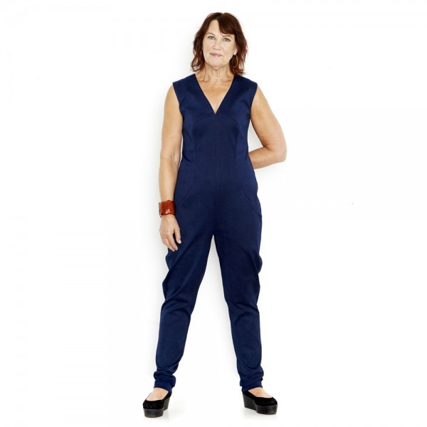 Blå KNAP design denim jumpsuit